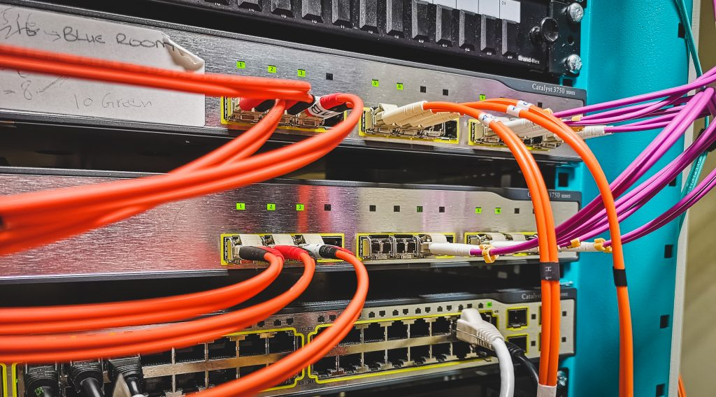 Site-wide fibre optic cable backbone terminating on a Cisco 3750G switch stack. These switches will be removed in a year's time as part of an infrastructure upgrade.